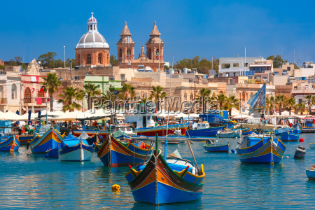 taditional eyed boats luzzu in marsaxlokk