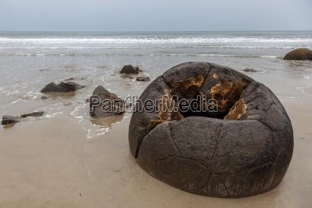 a hollow moeraki boulder