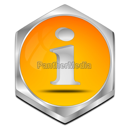 orange information button 3d illustration