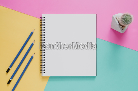 office workplace minimal concept blank notebook