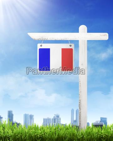 france flag on wood post banner