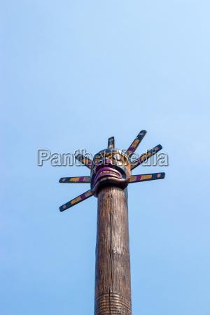 totem pole in canada blue sky