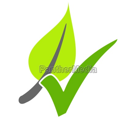 leaf with green check mark