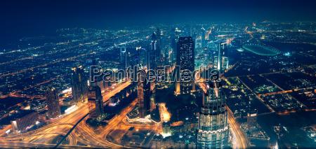 panoramic view of dubai city