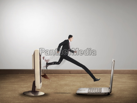 business man with long leg out