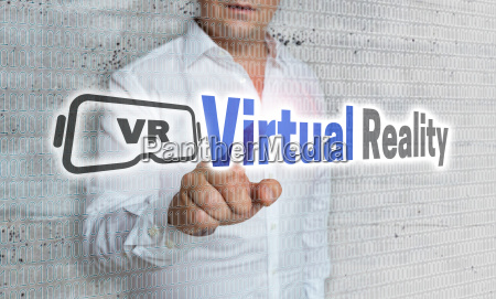 virtual reality with matrix and businessman