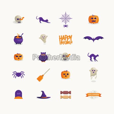 vector halloween symbol design set