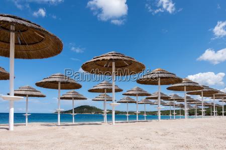 parasols at liscia ruja beach in