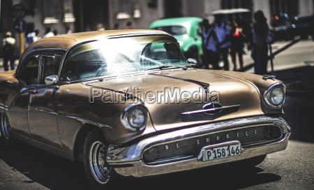 a classic 1950s car in a