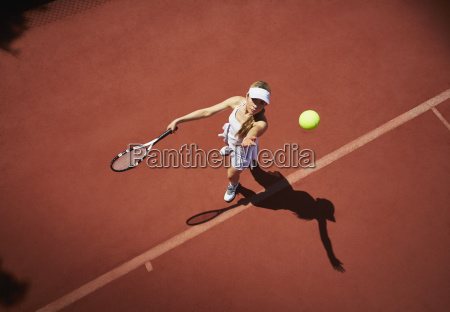 overhead view young female tennis player