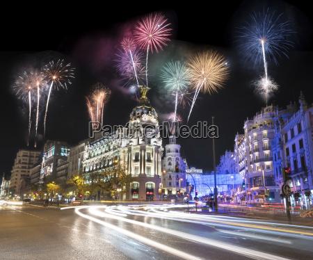 spain madrid firework display at night
