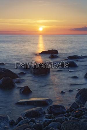 germany ruegen sassnitz sunset over baltic