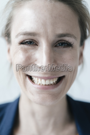 portrait of grinning woman close up