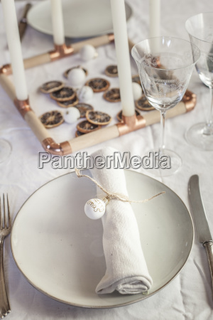 place setting on laid table at