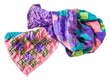 knotted stitched silk patchwork scarf isolated