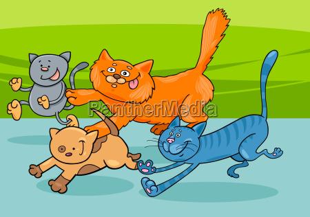 running cats group cartoon illustration
