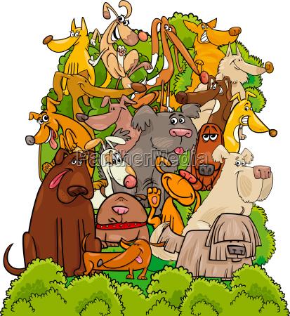 dog characters group cartoon illustration