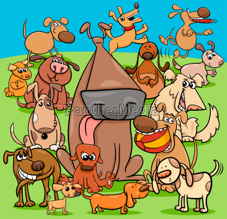 playful dogs cartoon characters group