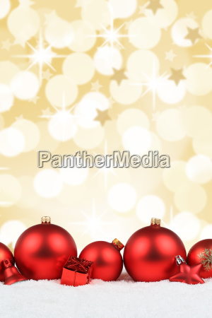 christmas red christmas balls gold background
