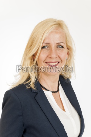 smiling middle aged blonde woman