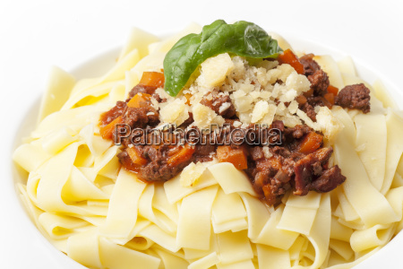 portion of tagliatelli with sauce bolognese