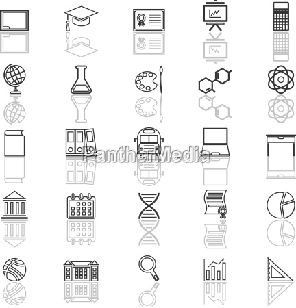 education line icons with reflect on
