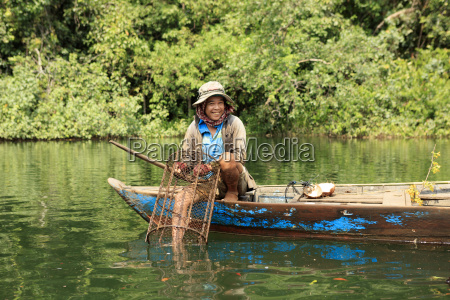 crayfish fisherman on a tributary of