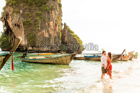 sunset on railay beach in krabi