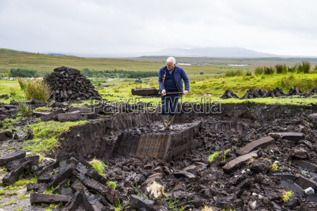 blocks of peat cut out on