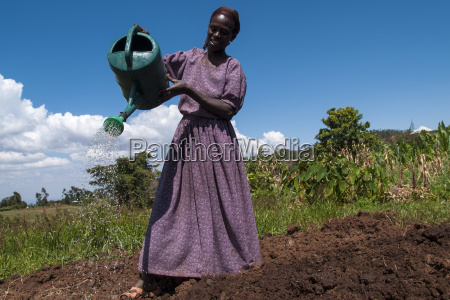 a woman waters her crops using