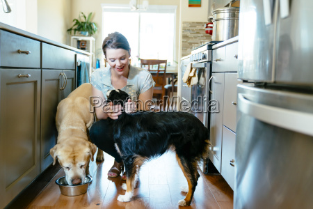 woman feeding and petting dogs in