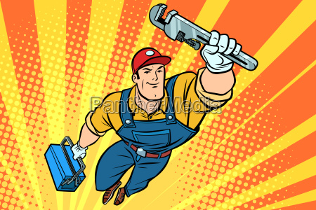 male superhero plumber with a wrench
