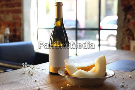 white wine and melon