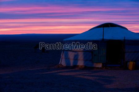 yurt purple sky sunset gobi desert