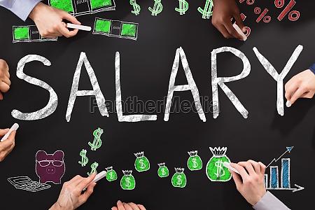 salary word on blackboard