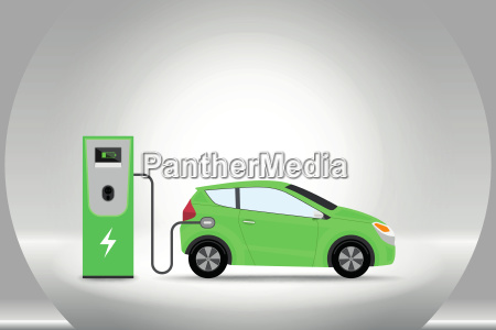electric car charging at charger service