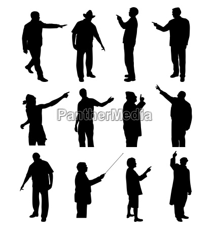 people pointing showing