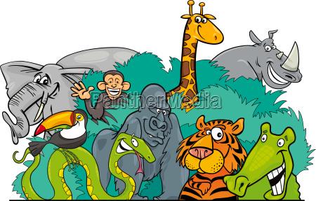 cartoon jungle wild animal characters