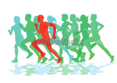 a group of runners running