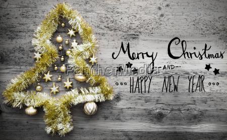 golden tinsel tree calligraphy merry christmas