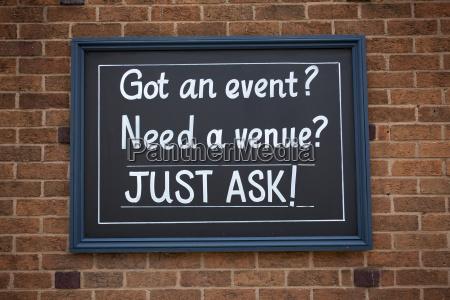 sign got an event need a