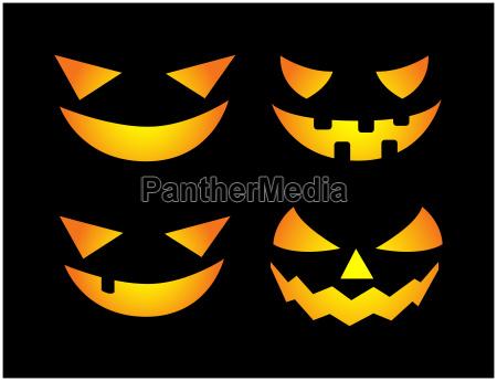 halloween scary pumpkin face vector illustration