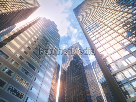modern buildings perspective view