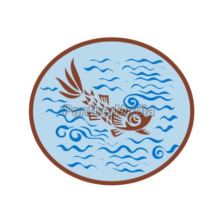 medieval fish swimming oval retro