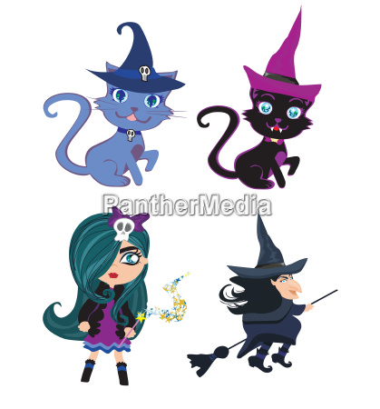 witches and cats set