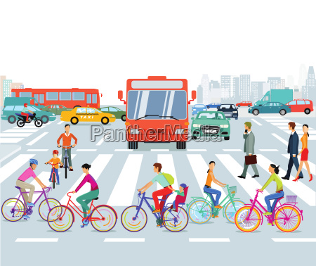 city with cyclists and road traffic