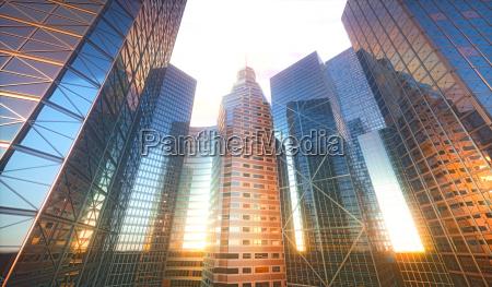 3d cityscape sun reflection