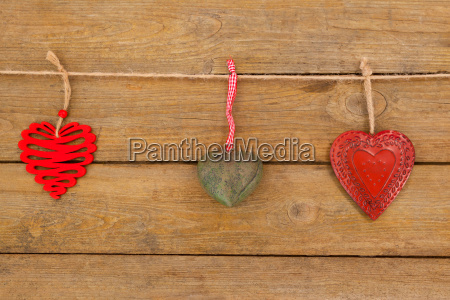 hearts with different designs hanging on