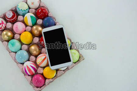 mobile kept on painted easter eggs