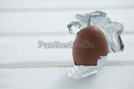 chocolate easter egg in foil on